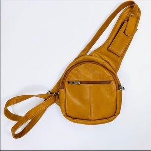 Vintage 90s Pebbled Leather Sling Backpack